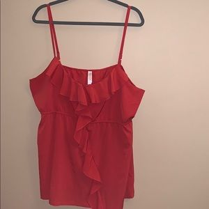 Warehouse One XXL dark orange/red ruffled tank top